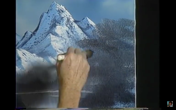Those mountains were beautiful! You're just going to put a blotch of Van Dyke Brown over it? Come on dude.